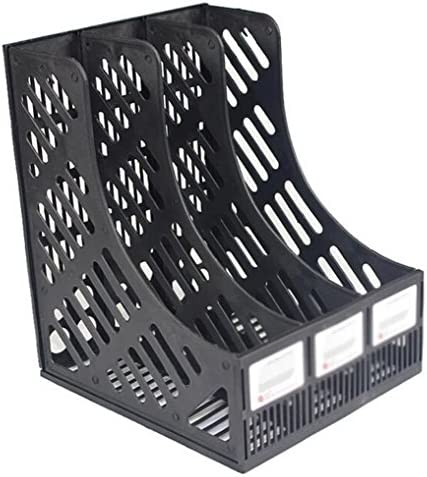 Wonque Schreibtisch-Ordnerregal, 3-Fach Kunststoff, Zeitschriftenhalter, Rahmen für Dokumente, Organizer, Box, 1 Stück, Plastik, Schwarz, 30 * 26 * 24CM