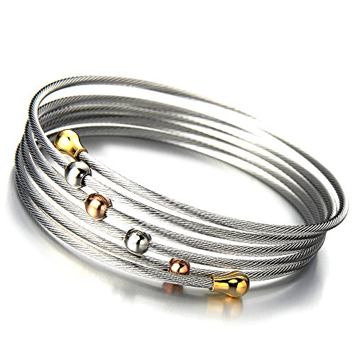 Elastic Adjustable Bracelet Multi lap Two tone