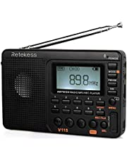 Retekess V-115 Radio AM/FM Stereo Radio Portable Radio with Shortwave Transistor MP3 Player Radio with REC Voice Recorder Support T-Flash Card and Sleep Timer (Black)