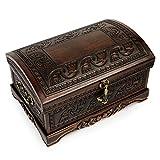 NOVICA Mohena wood and leather jewelry box, Dark Inca Sea