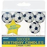 Amscan International - Candeline per torta a forma di pallone da calcio, confezione da 6