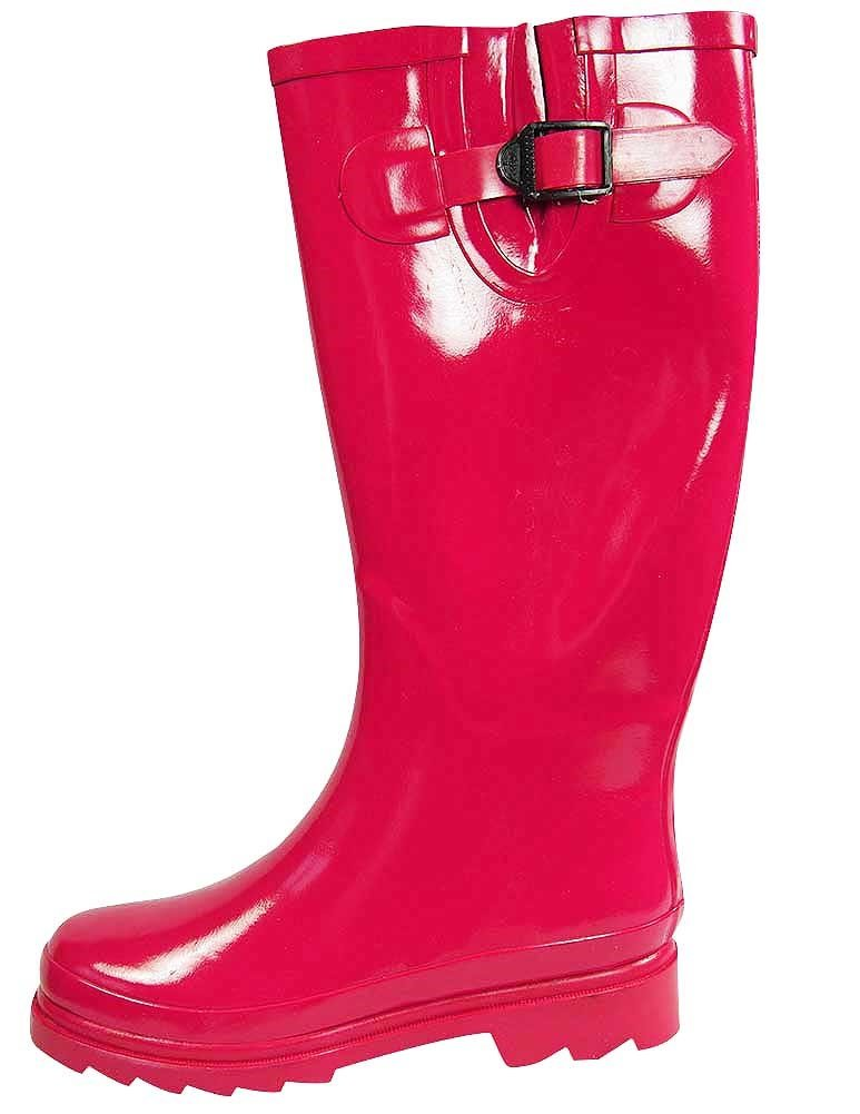 Sunville Women's Ditsy Dots Rubber Rainboot Gardenboot,7 B(M) US,Solid Fuchsia by Sunville (Image #1)