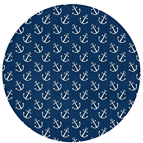 NiYoung Navy Anchors Pattern Round Area Rug for Bedroom, Living Room, Home Kitchen/Memory Foam Premium Kitchen Rug Entrance Mat, Non-Slip Fast Dry Nursery Rugs (16