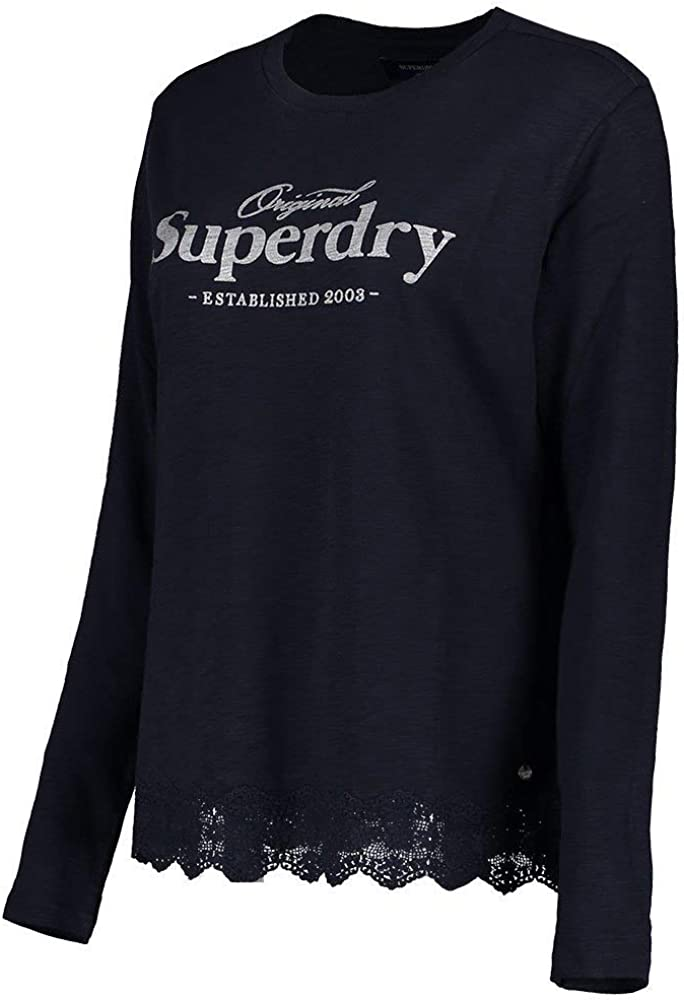 Superdry Graphic Lace Mix LS Top Camisa Manga Larga para Mujer