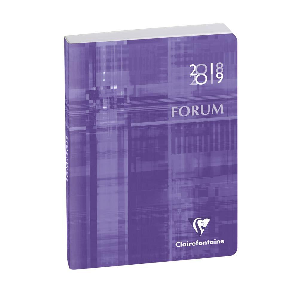 Clairefontaine Forum Métric 184073E - Agenda journalier broché - Août 2018 à Juillet 2019 - couverture en carte imprimée avec un pelliculage brillant toilé - 12 x 17 cm - coloris turquoise Agenda scolaire