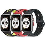 AdMaster Compatible for Watch Band 42mm 44mm Soft Silicone Replacement Wristband Compatible for Watch Series 1 2 3 4 M L RedBlack BlackVolt AnthraciteBlack