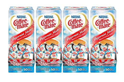 NESTLE COFFEE-MATE Coffee Creamer, Peppermint Mocha, liquid creamer singles, 50 Count (Pack of 4)
