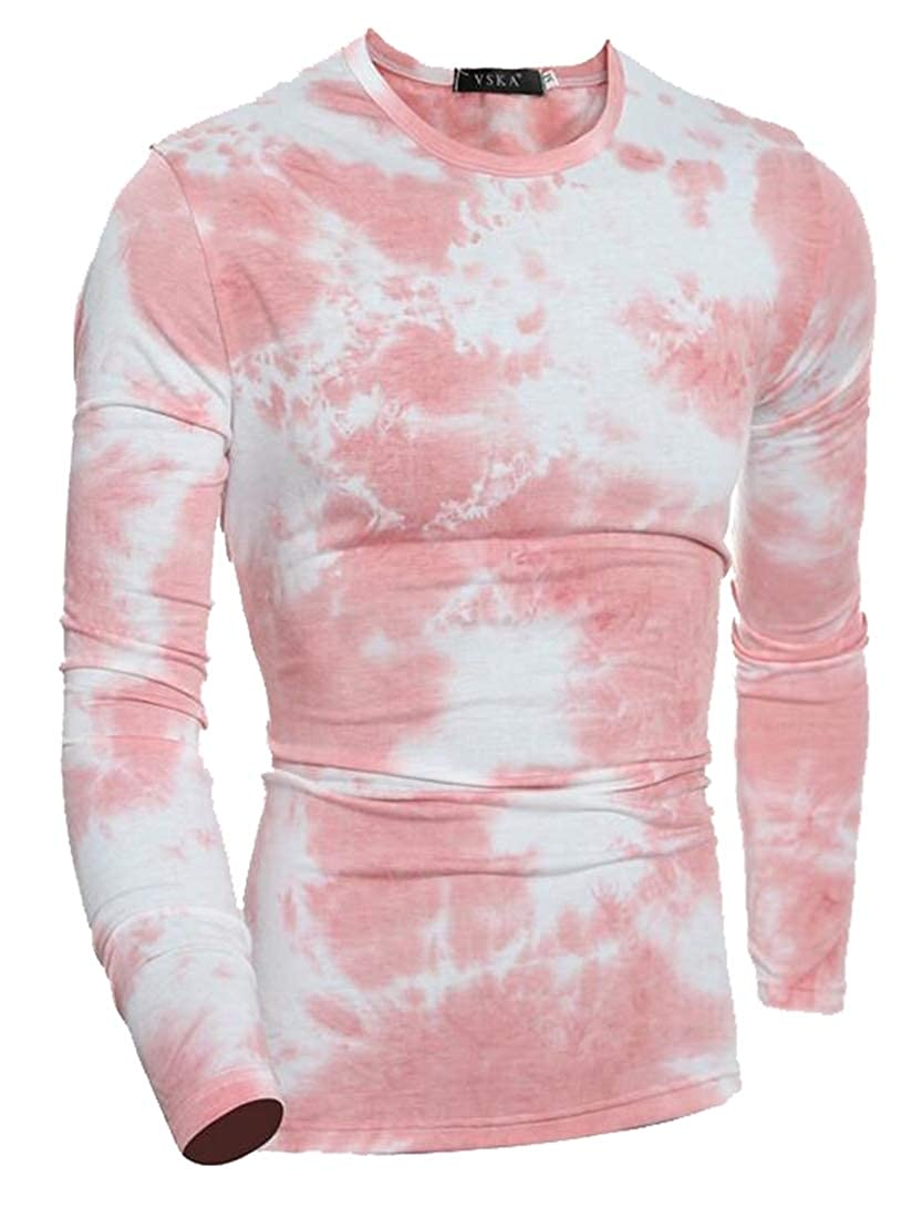 Mens Tie Dyeing Long Sleeve Round Neck Cotton T-Shirt Top