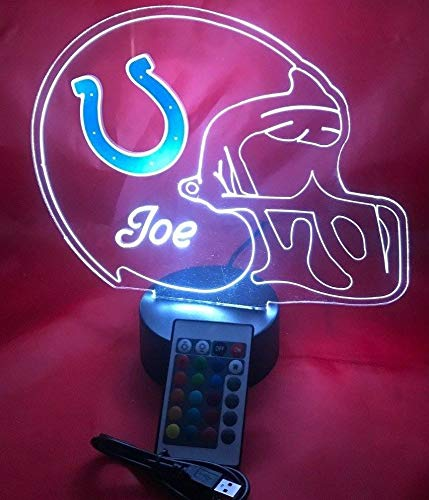 Indianapolis Colts NFL Light Up Lamp LED Personalized Free Football Light Up Light Lamp LED Table Lamp, Our Newest Feature - It's Wow, with Remote, 16 Color Options, Dimmer, Free Engraved, Great Gift - Indianapolis Team Colts Desk
