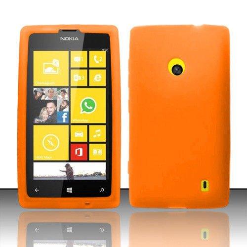 Mystcase (TM) For Nokia Lumia 520 Rubber Silicone Soft Gel Skin Case Phone Cover + Screen Protector (Orange) (Nokia Lumia 520 Case Protector)