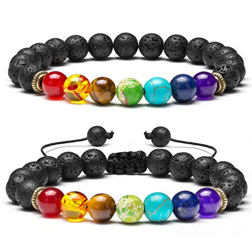 Qceasiy Men Women 8MM Volcanic Stone 7 Chakra Bracelet Essential Oil Anti-Anxiety Yoga Bead Bracelet(Set 1)