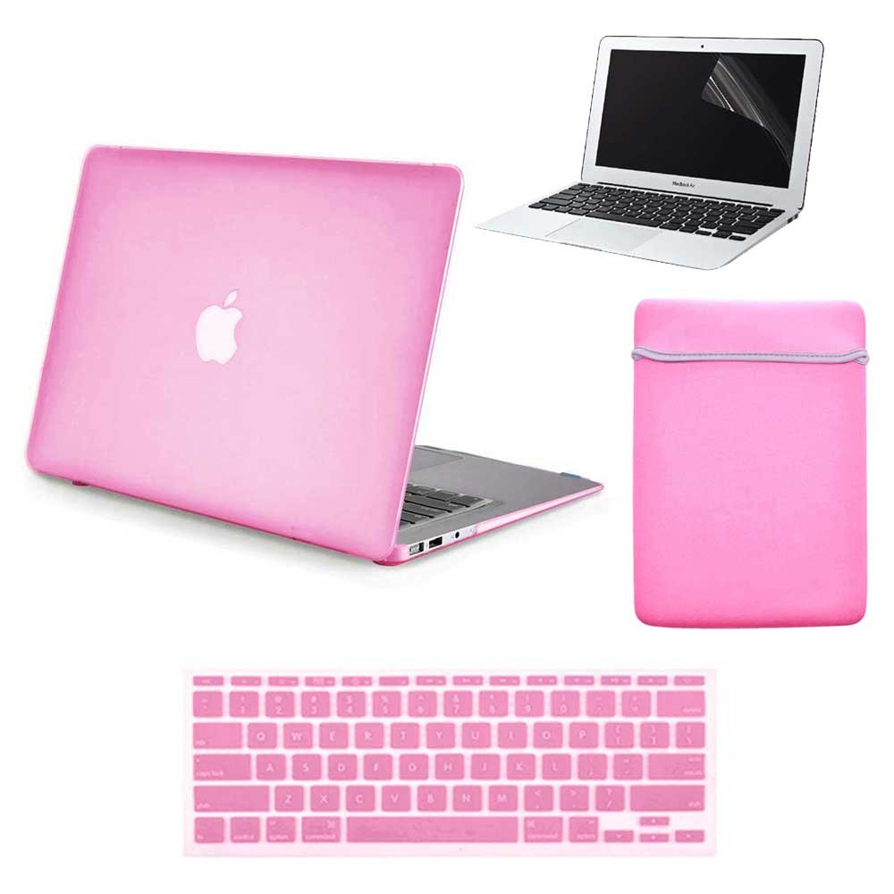 Lot of 20 Rubberized Hard Plastic Case Cover Sleeve Cover Keyboard Skin Screen Protector for MacBook Air 13'' A1369/A1466 - Baby Pink