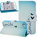 Nsstar iPhone 4s Case,iPhone 4 Case,iPhone 4s Case Wallet,iPhone 4s Cover,Stand Case for iPhone 4s 4,Colorful Painted Drawing Luxury Fashion Light Blue Smile Little Love Shape Pattern Wallet Pu Leather Flip Folio Stand Case Cover Pouch With Credit ID Card Holder Slots for iPhone 4S 4 (Smile Love)