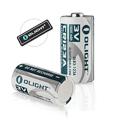 Bundle: Olight CR123A 3V 1600mAh High Performance Lithium Battery Standard Batteries Design for Olight S1 S10R S10C S10 H2R LED Flashlights ( CR123 Set of 2 ) with Olight Patch