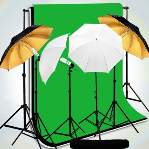 CanadianStudio Photo Studio Continuous 4-Head Umbrella Lighting Light Black/White/Green High Key Muslin Backdrop Stand Kit VL-203+VL-202+ TB-22BW