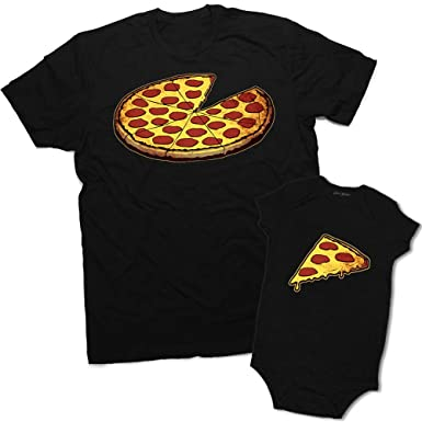 628614056 Funny Pizza Pie & Slice Infant Baby Bodysuit & T-Shirt Set Dad (Black