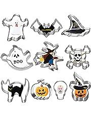 Halloween uitsteekvormpjes, 10 stuks, roestvrij staal, koekjessnijder, pompoen, vleermuis, geest, heks, heksenhoed, kat, doodskop, spin, grafsteen vormpjes voor Halloween feestdecoraties.