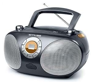 Muse M-25RD - Radio cassette (portátil, FM, MW, pantalla LCD, 3.5 mm, MP3), gris
