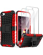 iPod Touch 7 Case with 2 Screen Protectors,iPod 6 Case,iPod 5 Case, IDweel Heavy Duty Dual Layer Shockproof Hybrid Rugged Cover Case with Built-in Kickstand for Apple iPod Touch 5/6 / 7th Gen, Red