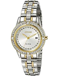Citizen Womens Eco-Drive Watch with Crystal Accents and Date, FE1154-57A