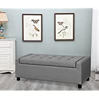 Harper Bright Design 52-inch Rectangular Storage Ottoman Tufted Bench Footrest Seat Large (Grey)