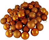 "60ct Burnt Orange Shatterproof 4-Finish Christmas Ball Ornaments 2.4"" (60mm)"