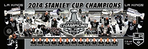 (NHL Hockey Los Angeles Kings 2014 Stanley Cup Champions - 12x36 Panoramic Photo. Frame Dimensions 13.5 x39 Deluxe Double Matted with Black Metal Frame #4005)