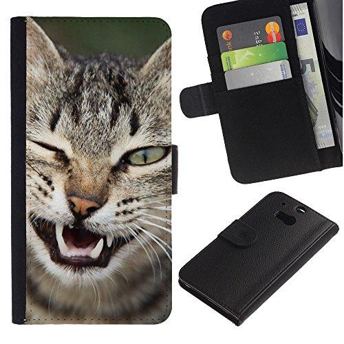 OMEGA Case / HTC One M8 / wink cat American shorthair Manx / Cuero PU Delgado caso Billetera cubierta Shell Armor Funda Case Cover Wallet Credit Card