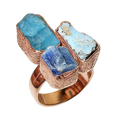 18k Rose Gold Vermeil Natural Larimar And Apatite Gemstone Adjustable Ring