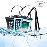 Universal Waterproof Phone Case of 3 Pack Set IPX8 Waterproof Smartphone Dry Bag for iPhone X, 8/7/7 Plus/6S/6/6S Plus, Samsung Galaxy S9/S9 Plus/S8/S8 Plus/Note 8 6 5 4 (Blue,green,black 3-Pack)