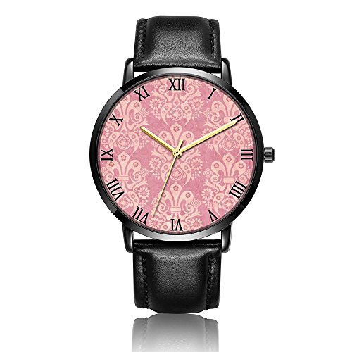 Whiterbunny Customized Pink Fleur De Lis Pattern Wrist Watch Unisex Analog Quartz Fashion Black Leather Strip/Black Dial Plate for Women and Men
