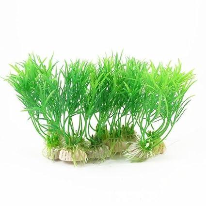 Amazon.com : eDealMax 10 piezas Planta de agua del acuario de plástico, DE 4, 5 pulgadas, Verde : Pet Supplies