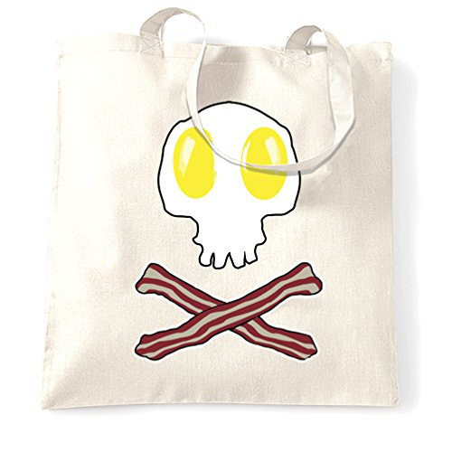 Bacon amp; And One Crossbones Size Skull Egg Bag Breakfast Natural White Tote HqwntCEWY