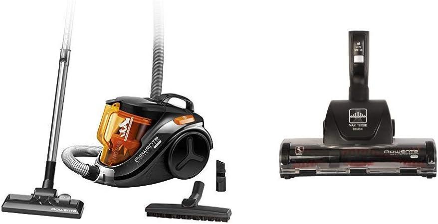 Rowenta Compact Power Cyclonic RO3753EA Aspirador sin Bolsa Sistema Ciclónico sin Bolsa + Maxi Turbo ZR902201 - Cepillo para aspiradora, elimina el pelo de mascotas y el polvo en alfombras y moquetas: