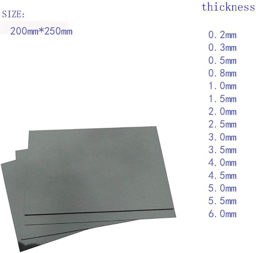 Wzqwzj Carbon Fiber Plate(Plain Smooth Surface 300X350mm,0.2mm to 6.0mm-1.5mm