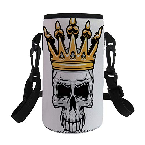 Small Water Bottle Sleeve Neoprene Bottle Cover,King,Hand Drawn Crowned Skull Cranium with Coronet Tiara Halloween Themed Image Decorative,Golden and Light Grey,Great for Stainless Steel and Plastic/G