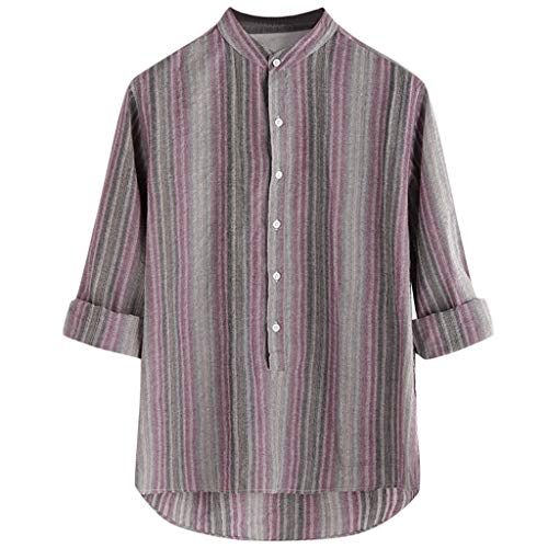 iHPH7 Mens Casual Button Down Shirts Short Sleeve Regular Fit Colorful Stripe Summer Long Sleeve Loose Buttons Casual Shirt Blouse (L,Gray)