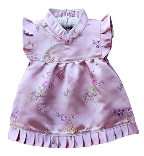 CRB Fashion Baby Toddler Kids Girls Qipao Chinese New Years 2016 Asian Costume Dress Set Outfit (3 to 4 Years Old, Pink Simple Flowers)