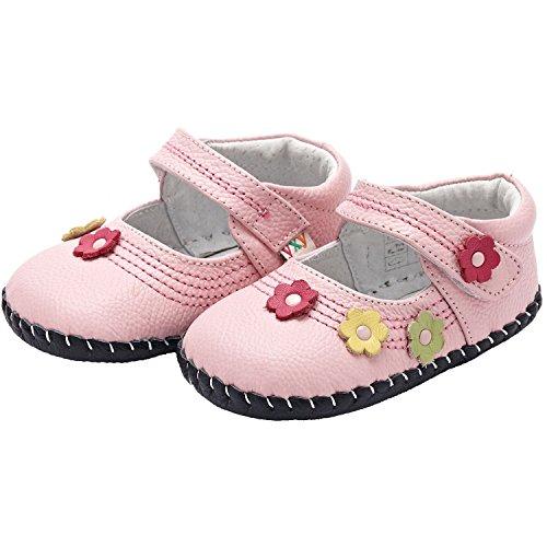 YXY - Zapatos de bebe primeros pasos de cuero niñas | Rosa pequeñas flores Rosa