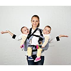 Twin Baby Carrier, Twins Carrier Tandem, Twin Wrap Carrier, Twin Carrier, Baby Twins, Baby Carrier, Twins Carrier.  The twins carrier is a great option for parents of twins!  Our ergonomic inward-facing position is healthy for your baby's hip...