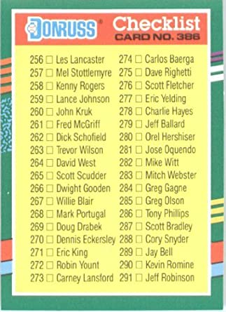 Amazoncom 1991 Donruss Baseball Card 386 Checklist Collectibles