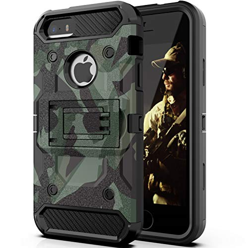 Halwen iPhone 5 Case, iPhone 5S Case and iPhone SE/SE 2 Case, Man Armor Soldier Kickstand Military Case Three Layer Protective Shockproof Cover for Apple iPhone 5/5S/SE/SE2 - Camouflage