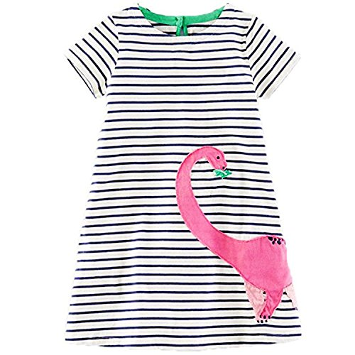 Huaqiang fashion Girls Summer Dress NEW Brand Princess Dress Children Costume Striped Animal Print Kids Clothes Birthday Dress as photo 4T