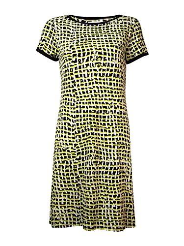 Calvin Klein Womens Matte Jersey Printed Casual Dress Yellow ()