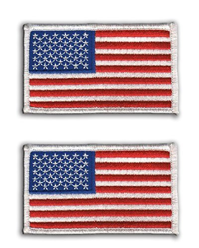 (2 pack - American Flag Embroidered Patch white border USA United States of America, sew on)