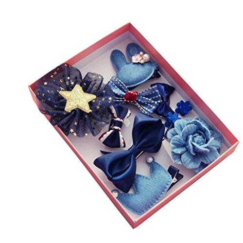 Afco - 10 pinzas de pelo para niña con lazo, diseño de flores, multicolor, para regalo de cumpleaños, Bleu Marin, 1.5cm -...