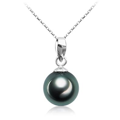 Amazon tahitian cultured black pearl pendant necklace 9 10mm tahitian cultured black pearl pendant necklace 9 10mm round sterling silver jewelry for women aloadofball Gallery
