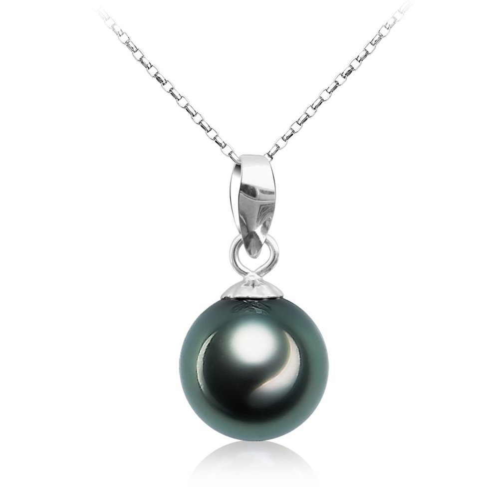 Tahitian Cultured Black Pearl Pendant Necklace 9-10mm Round Sterling Silver Jewelry for Women - VIKI LYNN