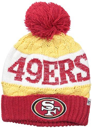 '47 NFL San Francisco 49ers Women's Swanson Cuff Knit Beanie with Pom, One Size, Light Gold ()