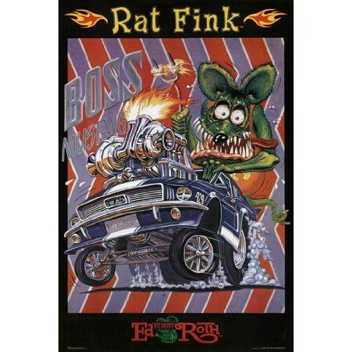 BEYONDTHEWALL Archive Ed Roth Rat Fink Boss Mustang Decorative Cartoon Car Novelty Art Print (24x36 Unframed Poster)